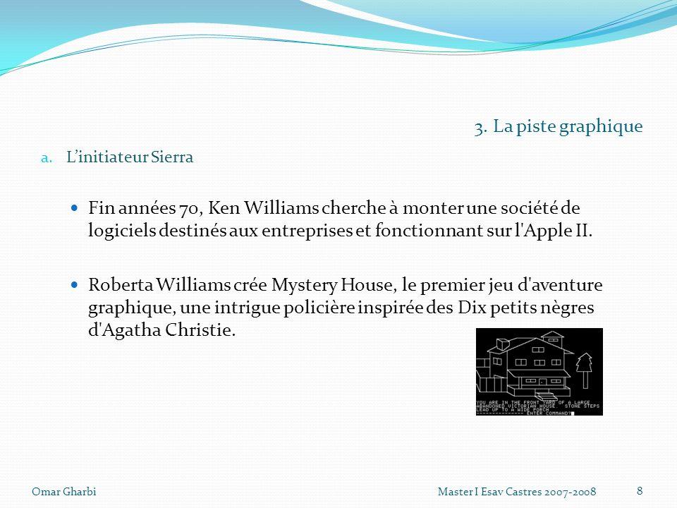 3. La piste graphique a. Linitiateur Sierra Fin années 70, Ken Williams cherche à monter une société de logiciels destinés aux entreprises et fonction