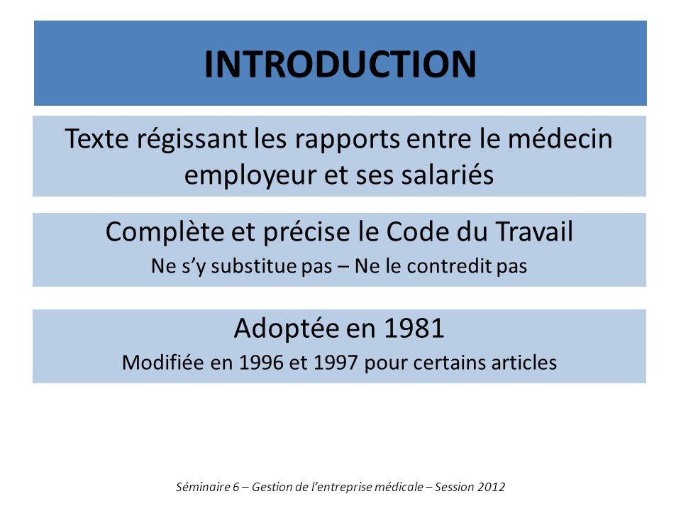 INTRODUCTION Séminaire 6 – Gestion de lentreprise médicale – Session 2012 Texte régissant les rapports entre le médecin employeur et ses salariés Comp