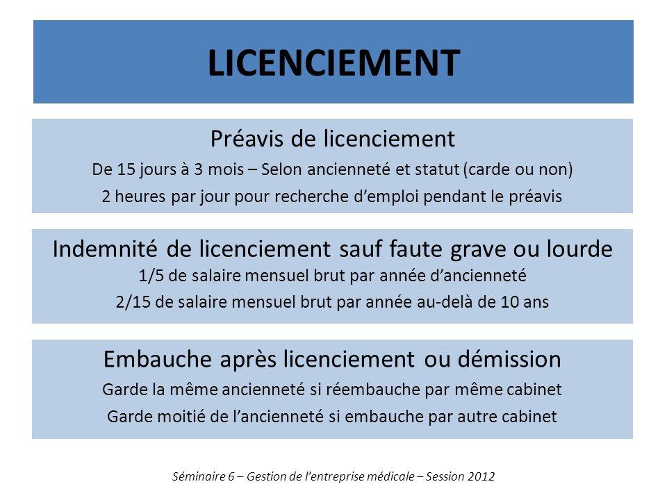 LICENCIEMENT Séminaire 6 – Gestion de lentreprise médicale – Session 2012 Préavis de licenciement De 15 jours à 3 mois – Selon ancienneté et statut (c