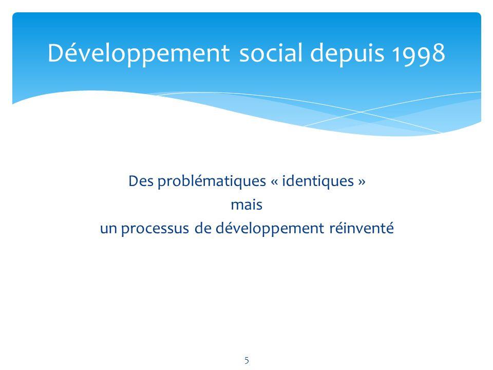 Des problématiques « identiques » mais un processus de développement réinventé Développement social depuis 1998 5