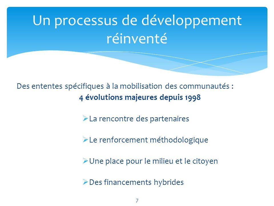 Des ententes spécifiques à la mobilisation des communautés : 4 évolutions majeures depuis 1998 La rencontre des partenaires Le renforcement méthodologique Une place pour le milieu et le citoyen Des financements hybrides Un processus de développement réinventé 7
