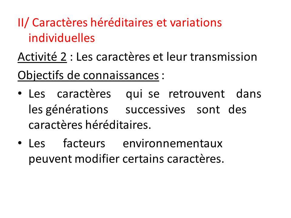 II/ Caractères héréditaires et variations individuelles Activité 2 : Les caractères et leur transmission Objectifs de connaissances : Les caractères q