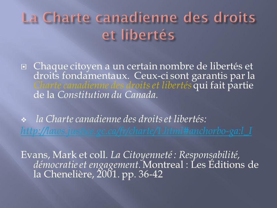 Chaque citoyen a un certain nombre de libertés et droits fondamentaux.