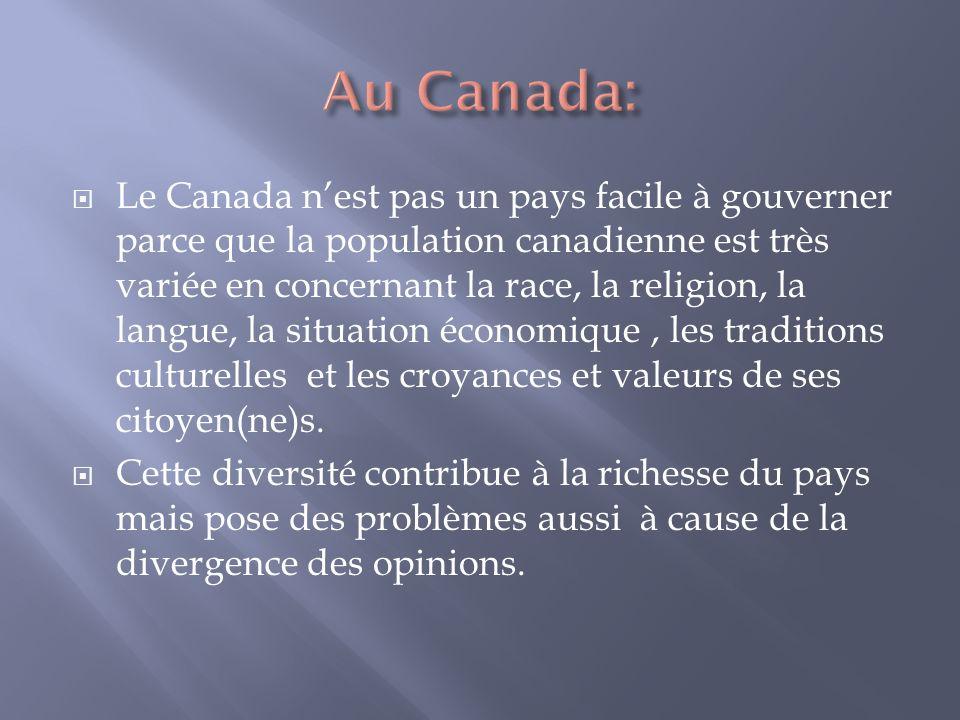Le Canada nest pas un pays facile à gouverner parce que la population canadienne est très variée en concernant la race, la religion, la langue, la situation économique, les traditions culturelles et les croyances et valeurs de ses citoyen(ne)s.