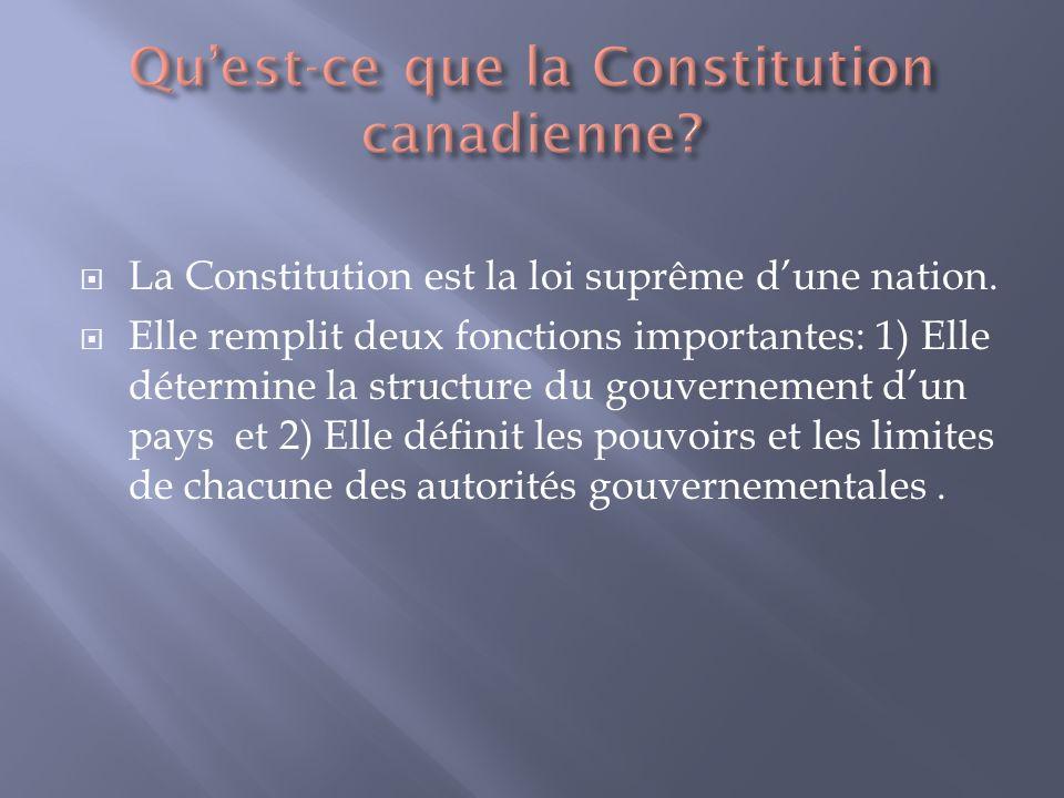 La Constitution est la loi suprême dune nation.