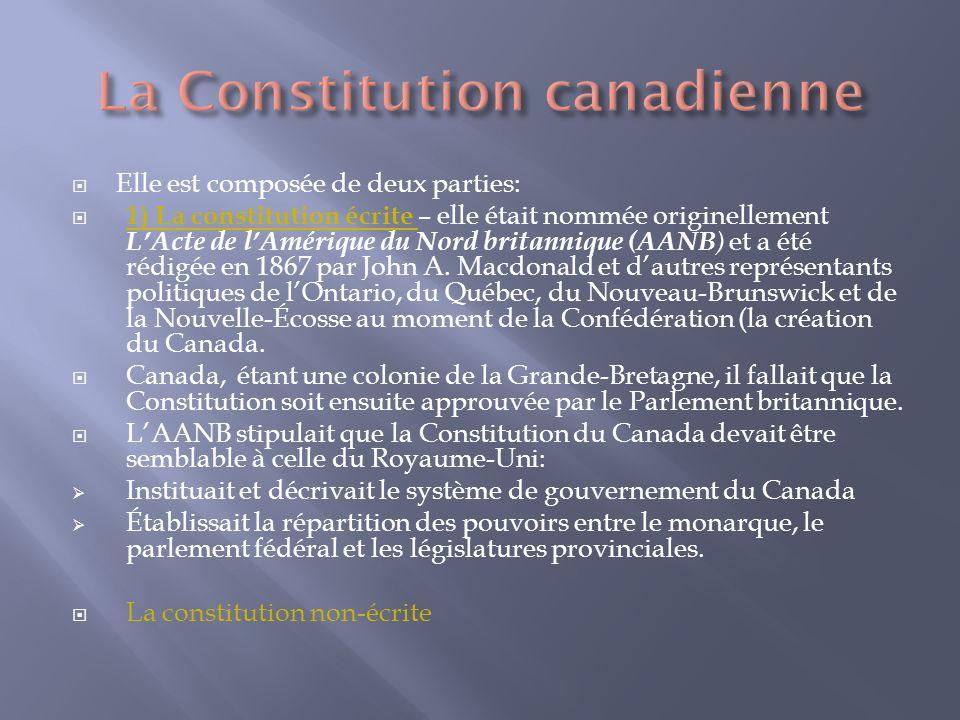Elle est composée de deux parties: 1) La constitution écrite – elle était nommée originellement LActe de lAmérique du Nord britannique (AANB ) et a été rédigée en 1867 par John A.