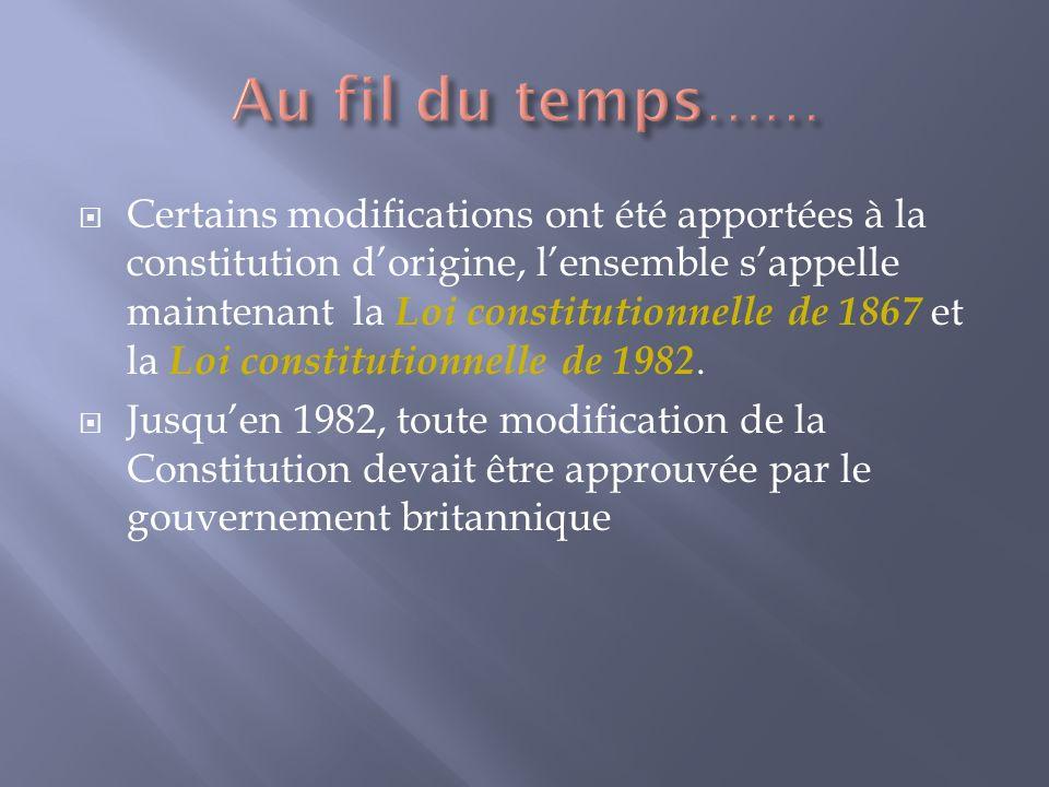 Certains modifications ont été apportées à la constitution dorigine, lensemble sappelle maintenant la Loi constitutionnelle de 1867 et la Loi constitutionnelle de 1982.