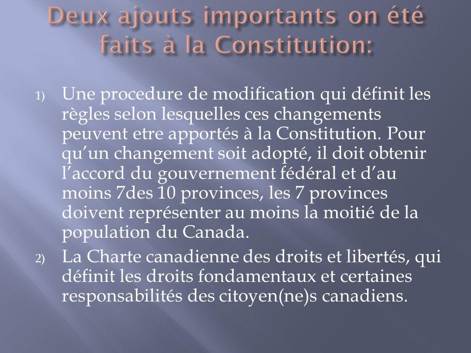 1) Une procedure de modification qui définit les règles selon lesquelles ces changements peuvent etre apportés à la Constitution.
