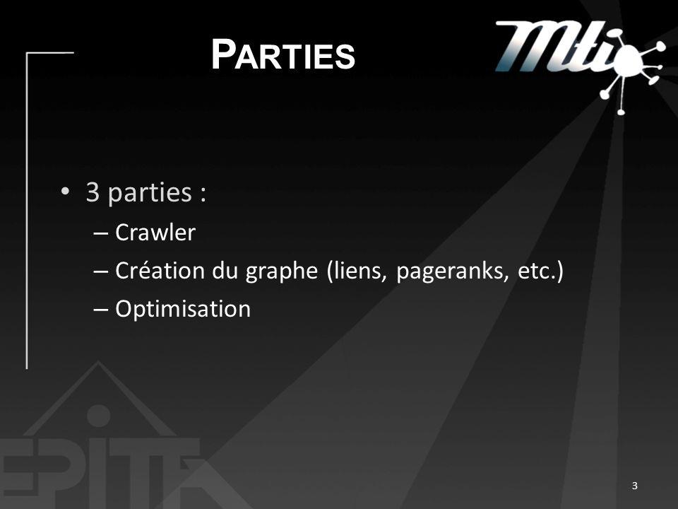 P ARTIES 3 parties : – Crawler – Création du graphe (liens, pageranks, etc.) – Optimisation 3