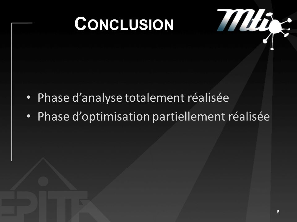 C ONCLUSION Phase danalyse totalement réalisée Phase doptimisation partiellement réalisée 8