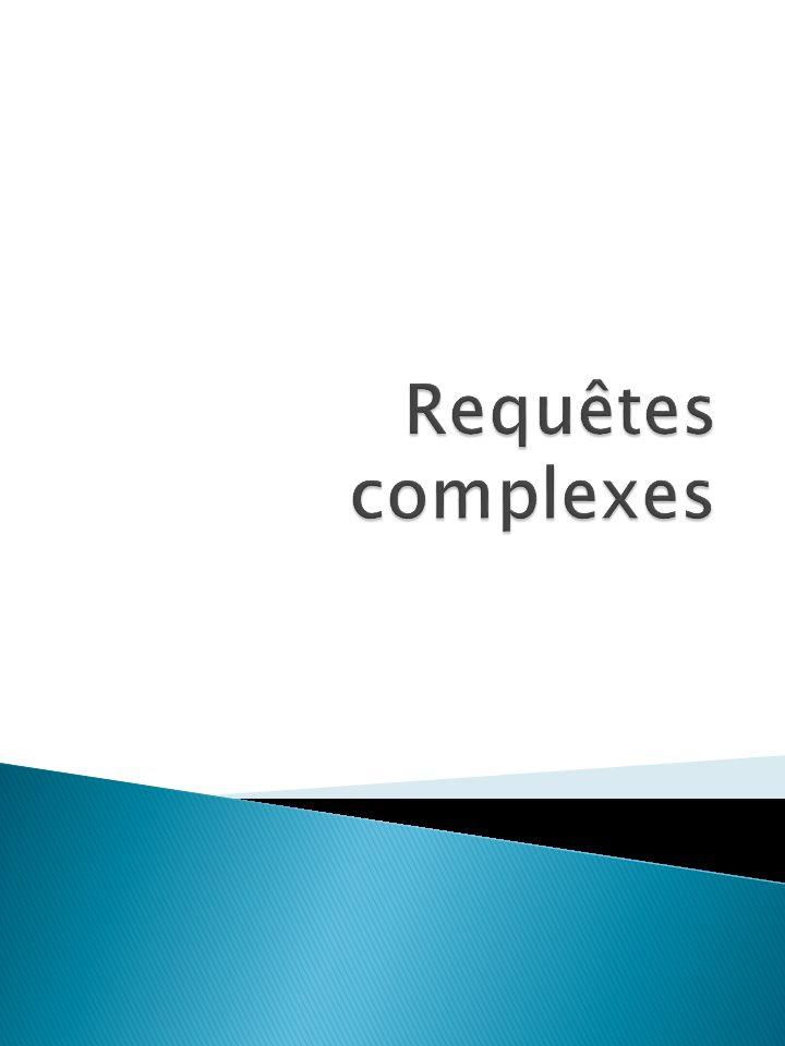 Dernière étape : Il faut généraliser pour tous les départements (remplacer le X par un générateur) : SELECT e1.id_departement FROM employe e1 WHERE NOT EXISTS( (SELECT Usine.id FROM employe Usine) MINUS (SELECT EmpDept.id FROM employe EmpDept WHERE EmpDept.id = e1.id) ); 32