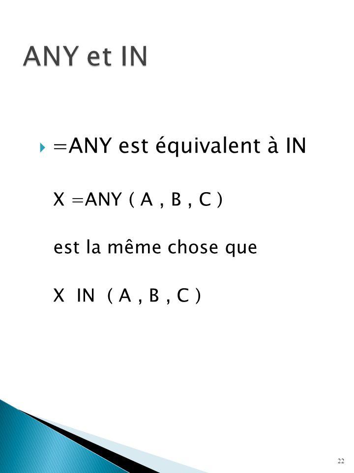 =ANY est équivalent à IN X =ANY ( A, B, C ) est la même chose que X IN ( A, B, C ) 22