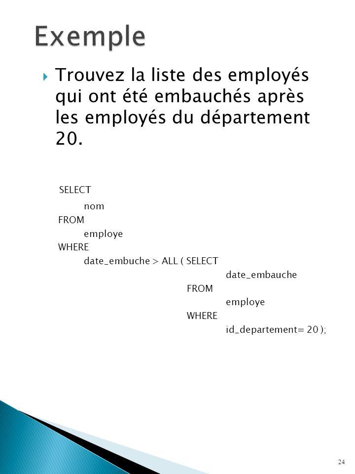 Trouvez la liste des employés qui ont été embauchés après les employés du département 20.