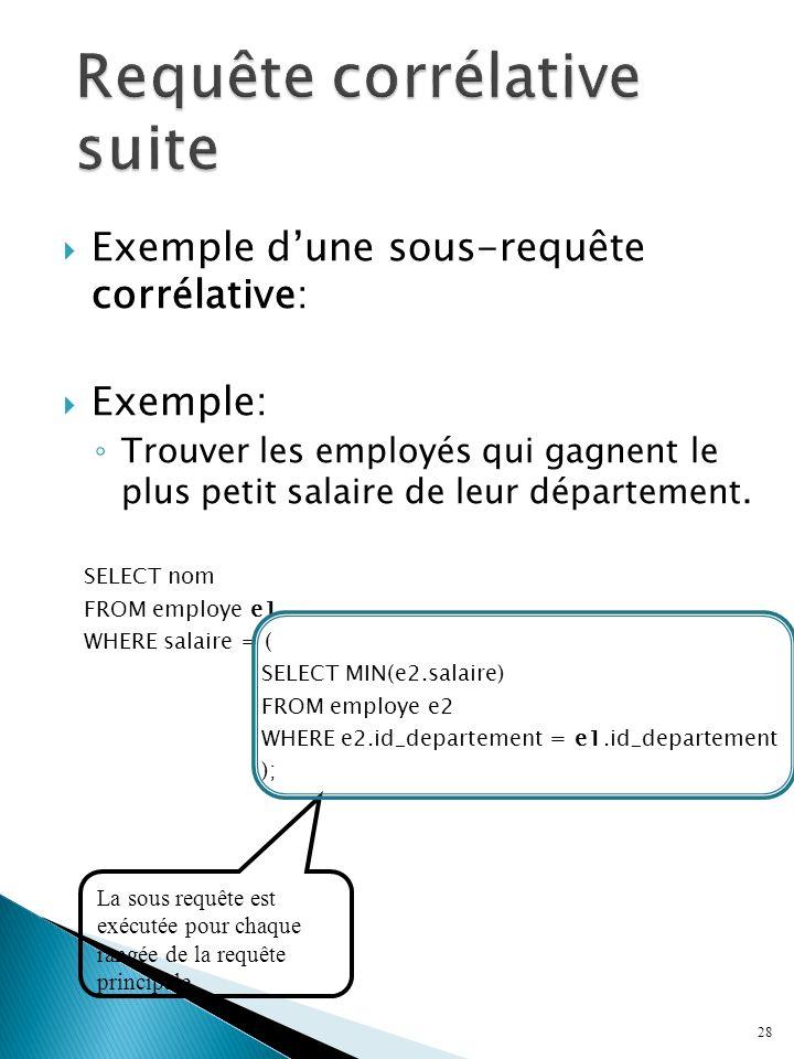 Exemple dune sous-requête corrélative: Exemple: Trouver les employés qui gagnent le plus petit salaire de leur département.