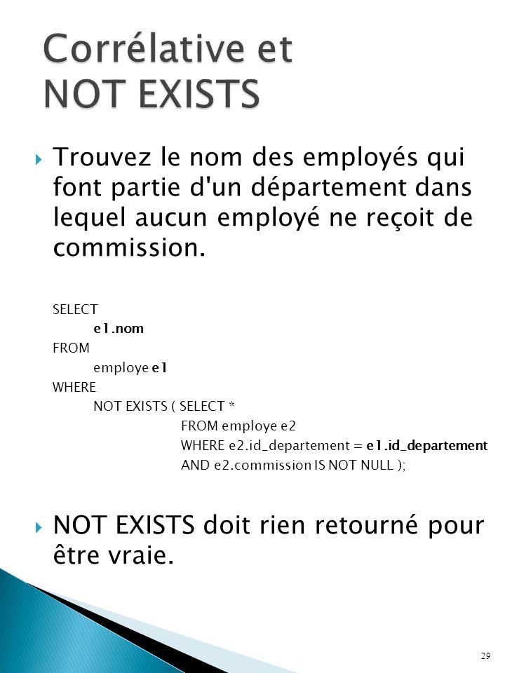 Trouvez le nom des employés qui font partie d un département dans lequel aucun employé ne reçoit de commission.