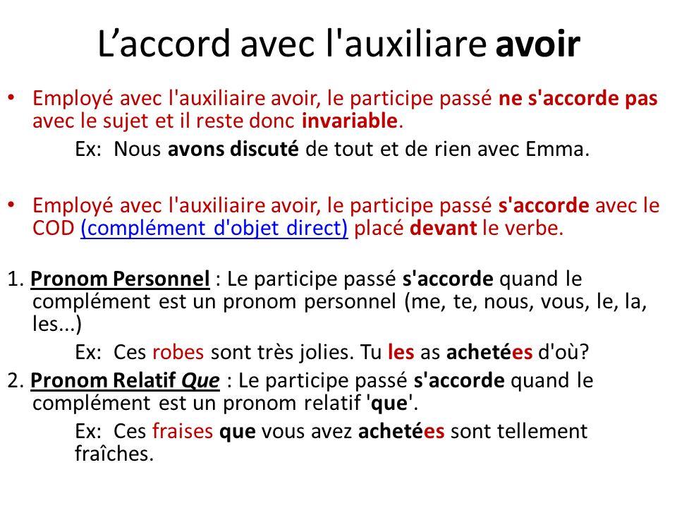 Laccord avec l auxiliare avoir Employé avec l auxiliaire avoir, le participe passé ne s accorde pas avec le sujet et il reste donc invariable.
