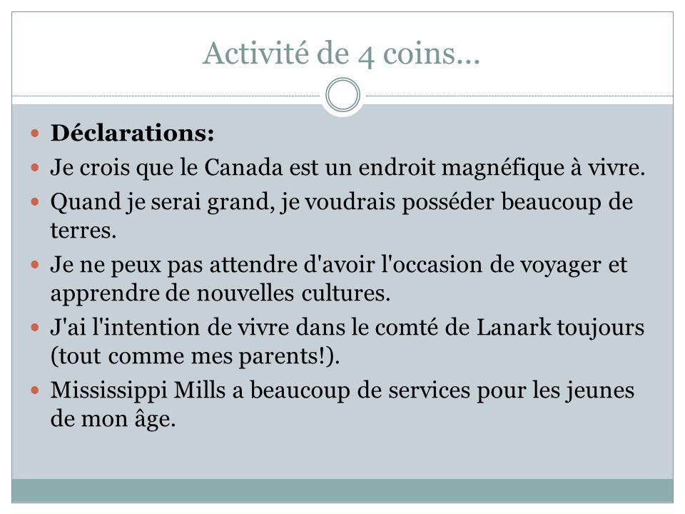 Activité de 4 coins...Déclarations: Je crois que le Canada est un endroit magnéfique à vivre.