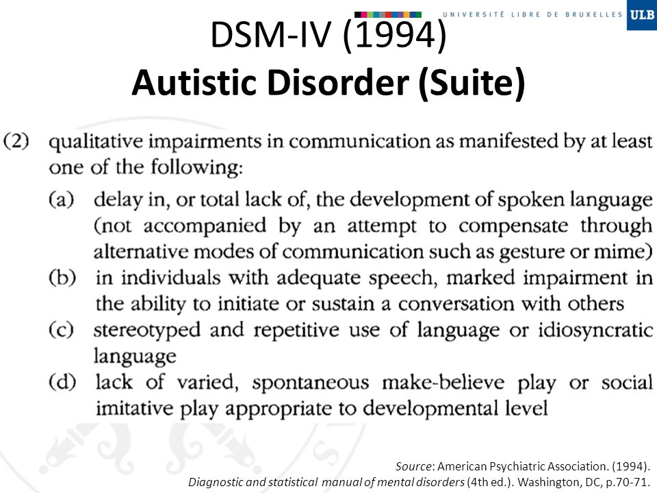DSM-IV (1994) Autistic Disorder (Suite) Source: American Psychiatric Association. (1994). Diagnostic and statistical manual of mental disorders (4th e