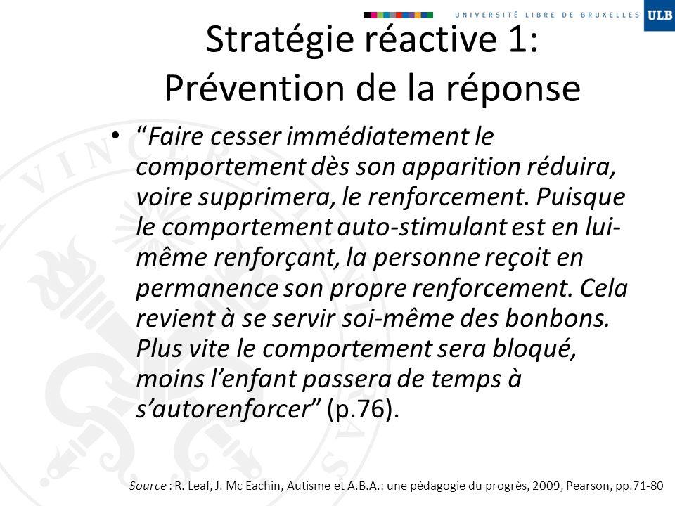 Stratégie réactive 1: Prévention de la réponse Faire cesser immédiatement le comportement dès son apparition réduira, voire supprimera, le renforcemen