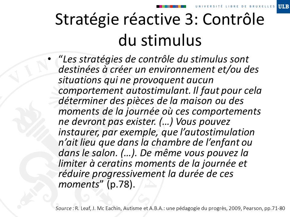 Stratégie réactive 3: Contrôle du stimulus Les stratégies de contrôle du stimulus sont destinées à créer un environnement et/ou des situations qui ne