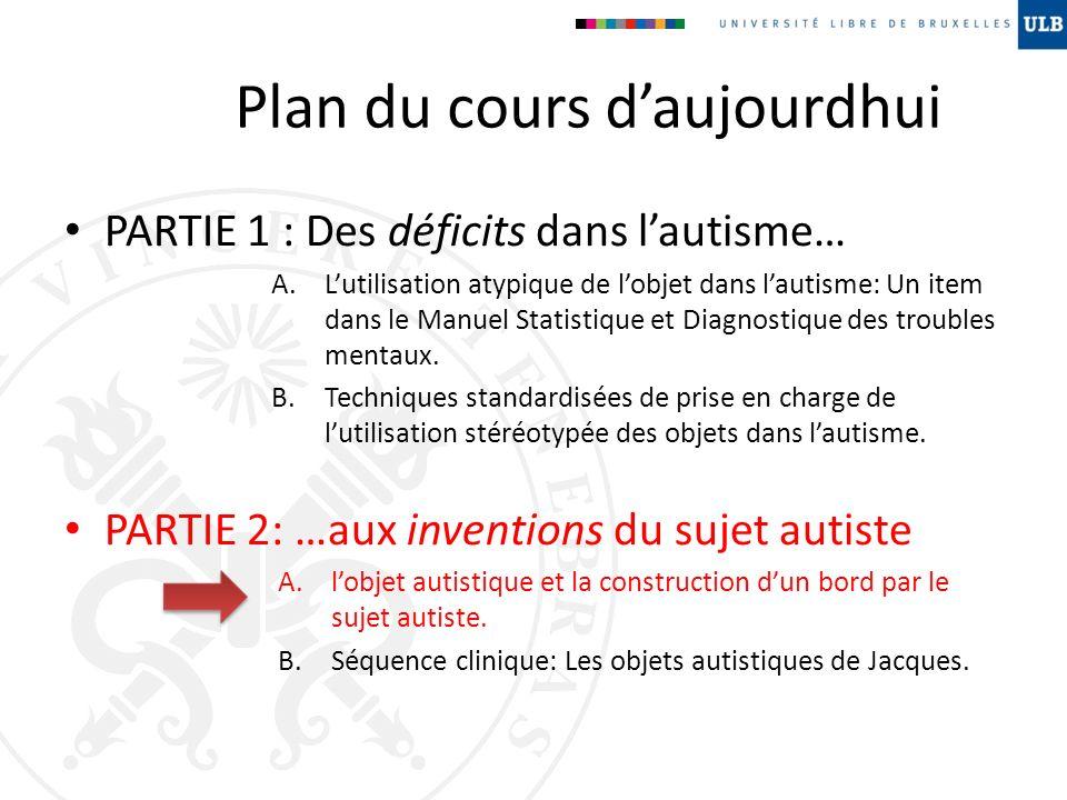 Plan du cours daujourdhui PARTIE 1 : Des déficits dans lautisme… A.Lutilisation atypique de lobjet dans lautisme: Un item dans le Manuel Statistique e