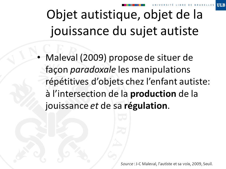 Objet autistique, objet de la jouissance du sujet autiste Maleval (2009) propose de situer de façon paradoxale les manipulations répétitives dobjets c