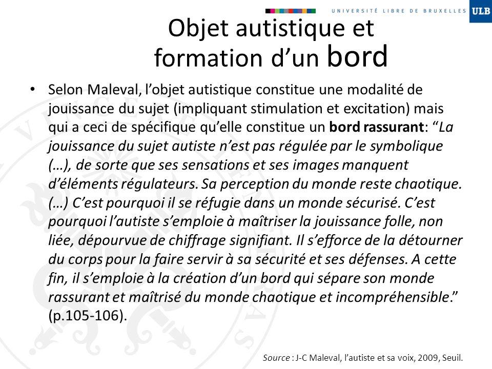 Objet autistique et formation dun bord Selon Maleval, lobjet autistique constitue une modalité de jouissance du sujet (impliquant stimulation et excit