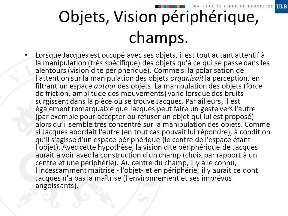 Objets, Vision périphérique, champs. Lorsque Jacques est occupé avec ses objets, il est tout autant attentif à la manipulation (très spécifique) des o