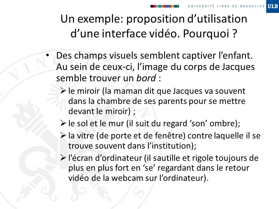 Un exemple: proposition dutilisation dune interface vidéo. Pourquoi ? Des champs visuels semblent captiver lenfant. Au sein de ceux-ci, limage du corp