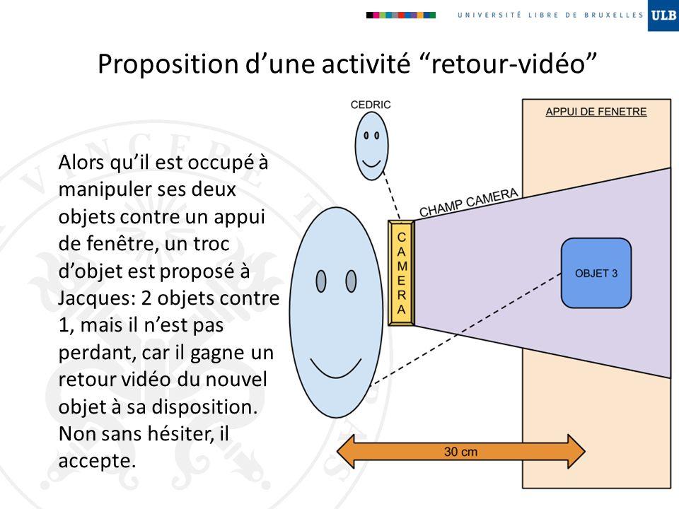 Proposition dune activité retour-vidéo Alors quil est occupé à manipuler ses deux objets contre un appui de fenêtre, un troc dobjet est proposé à Jacq