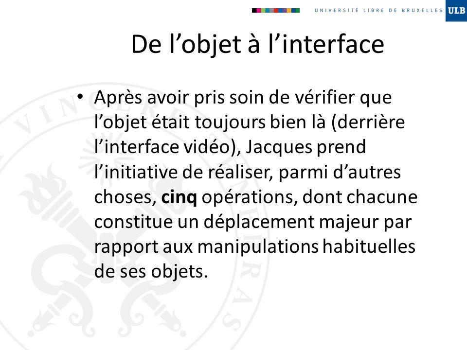 De lobjet à linterface Après avoir pris soin de vérifier que lobjet était toujours bien là (derrière linterface vidéo), Jacques prend linitiative de r