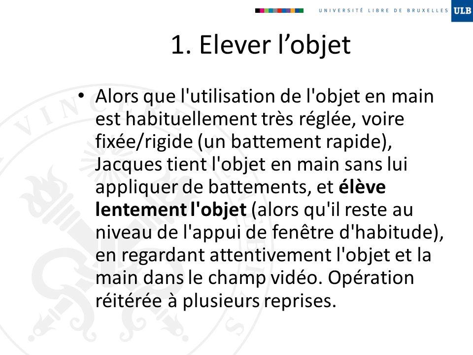 1. Elever lobjet Alors que l'utilisation de l'objet en main est habituellement très réglée, voire fixée/rigide (un battement rapide), Jacques tient l'