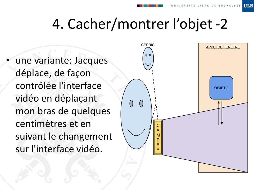 4. Cacher/montrer lobjet -2 une variante: Jacques déplace, de façon contrôlée l'interface vidéo en déplaçant mon bras de quelques centimètres et en su