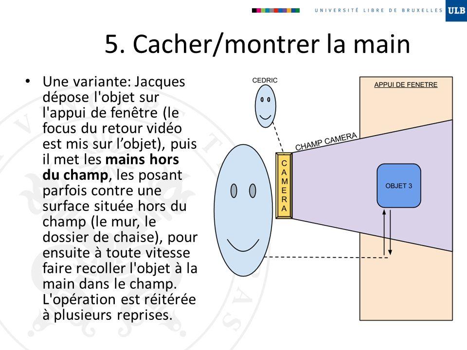 5. Cacher/montrer la main Une variante: Jacques dépose l'objet sur l'appui de fenêtre (le focus du retour vidéo est mis sur lobjet), puis il met les m