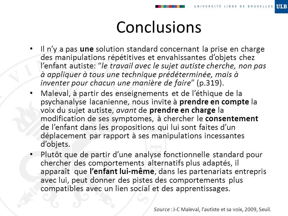 Conclusions Il ny a pas une solution standard concernant la prise en charge des manipulations répétitives et envahissantes dobjets chez lenfant autist