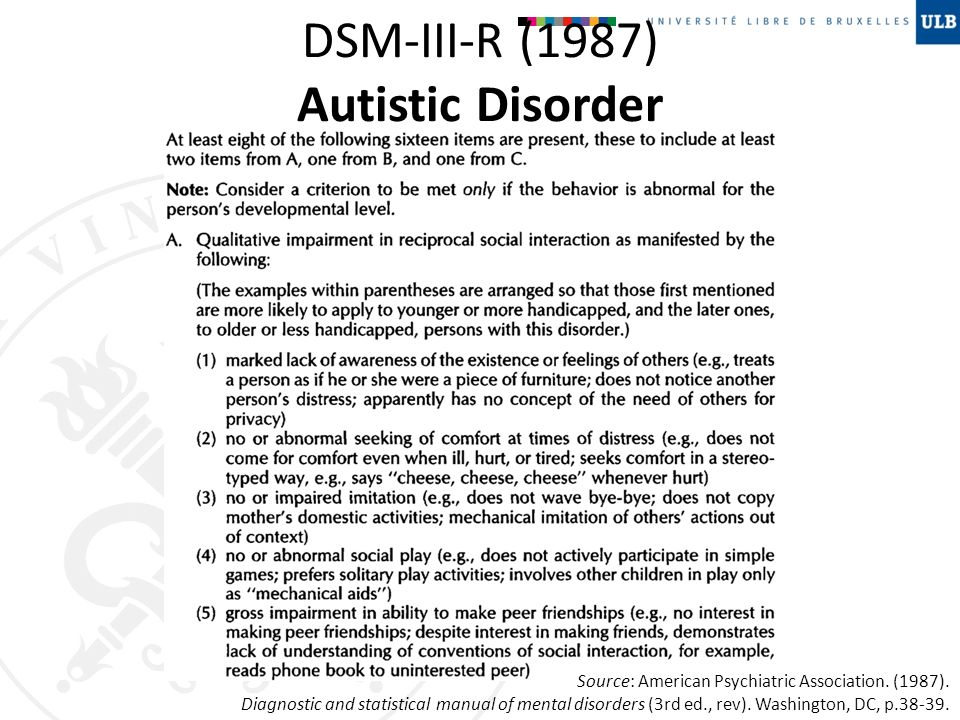 DSM-III-R (1987) Autistic Disorder Source: American Psychiatric Association. (1987). Diagnostic and statistical manual of mental disorders (3rd ed., r