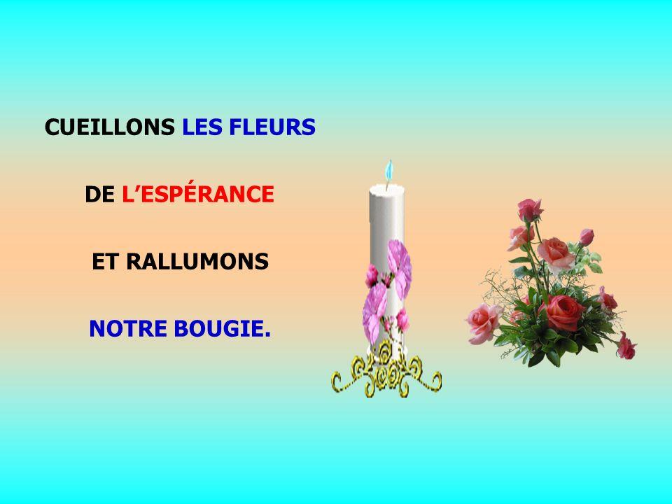 .. CUEILLONS LES FLEURS DE LESPÉRANCE ET RALLUMONS NOTRE BOUGIE.