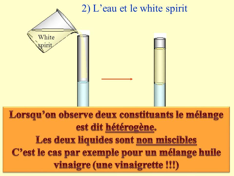 2) Leau et le white spirit White spirit Eau White spirit+ Eau