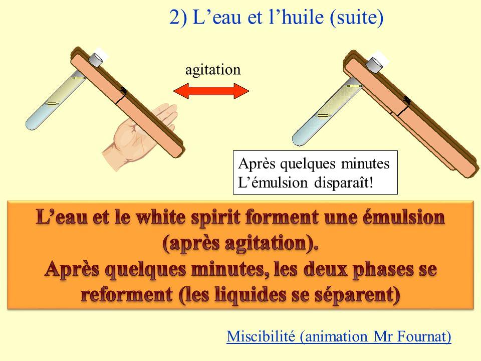 2) Leau et lhuile (suite) agitation Émulsion Après quelques minutes Lémulsion disparaît! Miscibilité (animation Mr Fournat)