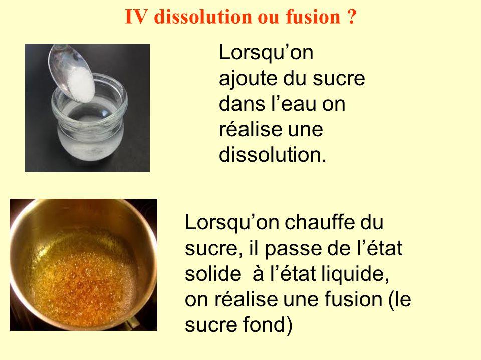 IV dissolution ou fusion ? Lorsquon ajoute du sucre dans leau on réalise une dissolution. Lorsquon chauffe du sucre, il passe de létat solide à létat