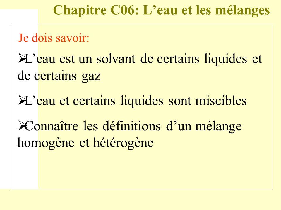 Chapitre C06: Leau et les mélanges Je dois savoir (suite): Employer le vocabulaire spécifique : fusion, dissolution, solvant, soluté, solution, soluble, insoluble, miscibilité.