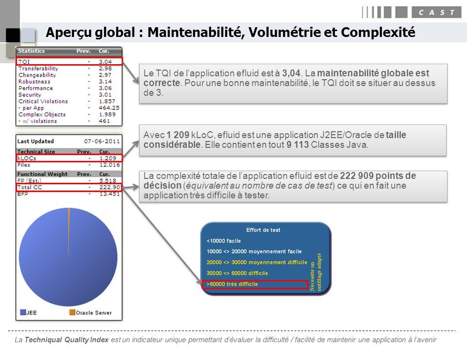 Aperçu global : Maintenabilité, Volumétrie et Complexité Le TQI de lapplication efluid est à 3,04. La maintenabilité globale est correcte. Pour une bo