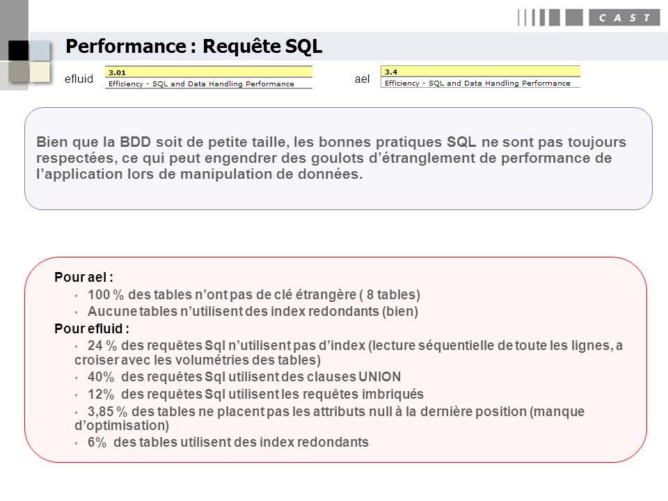 29 Copyright CAST 2005 Bien que la BDD soit de petite taille, les bonnes pratiques SQL ne sont pas toujours respectées, ce qui peut engendrer des goul