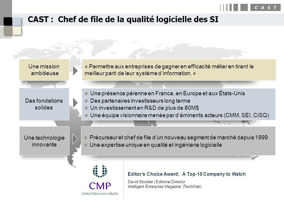 CAST : Chef de file de la qualité logicielle des SI Une mission ambitieuse Des fondations solides Une technologie innovante « Permettre aux entreprise