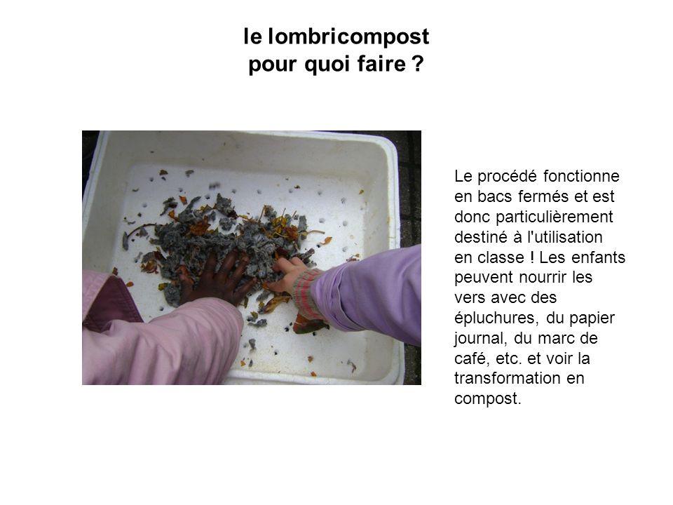 le lombricompost pour quoi faire ? Le procédé fonctionne en bacs fermés et est donc particulièrement destiné à l'utilisation en classe ! Les enf