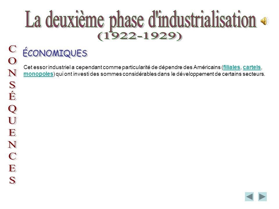 Suite à un léger ralentissement de léconomie après la première guerre mondiale, entre 1919 et 1922, le Québec entre dans une deuxième phase dindustrialisation caractérisée par lexploitation des ressources naturelles : lhydroélectricité, les minerais et les pâtes et papiers dont la cause est lexpansion des grands journaux.