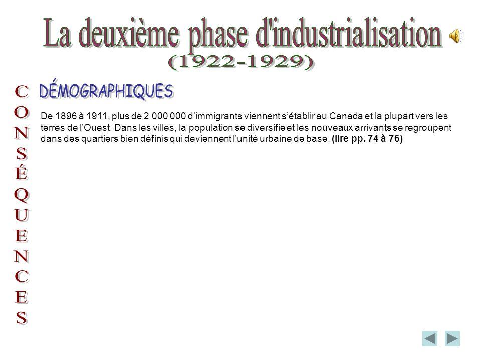 De 1896 à 1911, plus de 2 000 000 dimmigrants viennent sétablir au Canada et la plupart vers les terres de lOuest.