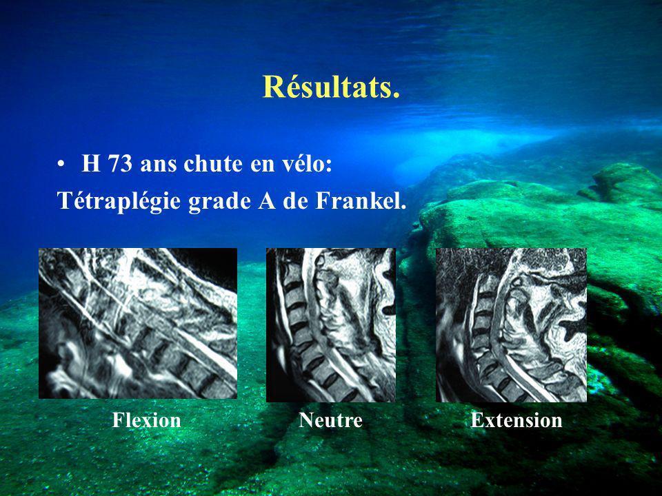 Résultats. H 73 ans chute en vélo: Tétraplégie grade A de Frankel. NeutreFlexionExtension