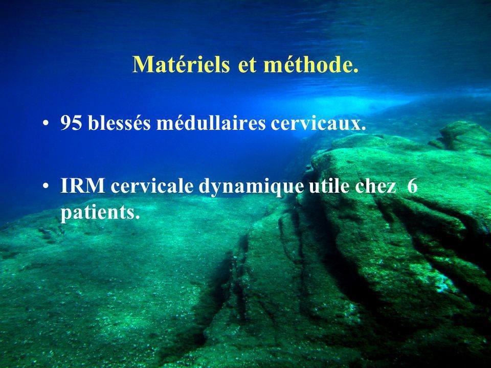 Matériels et méthode.95 blessés médullaires cervicaux.