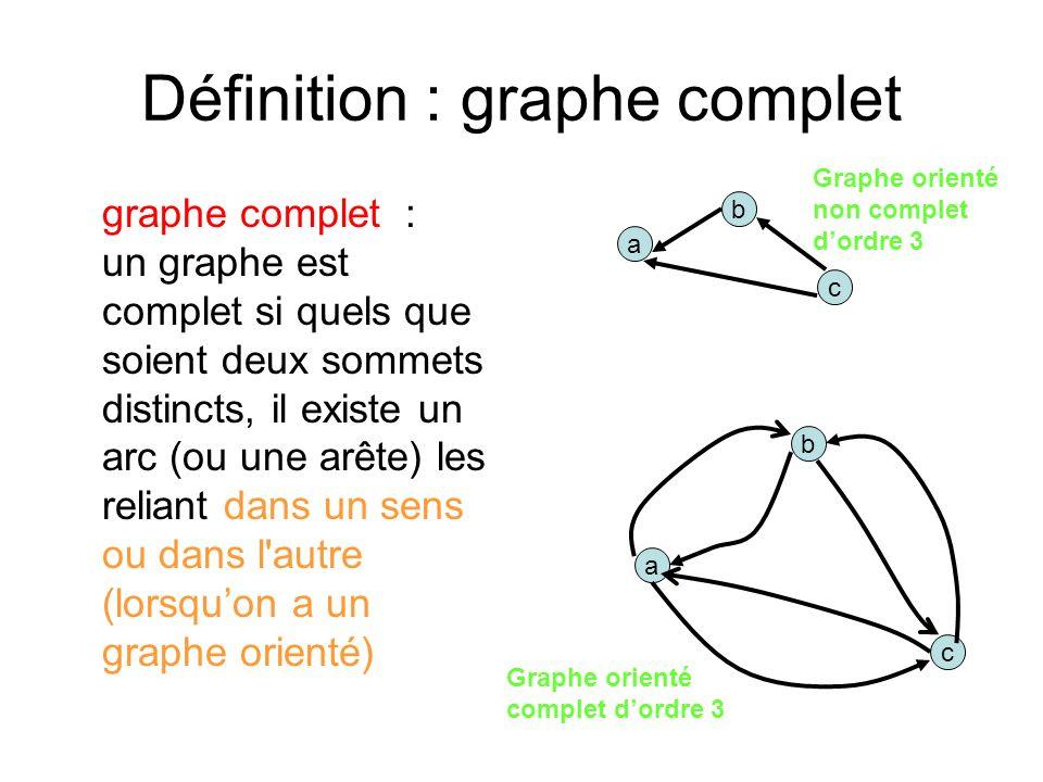Définition : graphe complet graphe complet : un graphe est complet si quels que soient deux sommets distincts, il existe un arc (ou une arête) les reliant dans un sens ou dans l autre (lorsquon a un graphe orienté) a b c Graphe orienté complet dordre 3 Graphe orienté non complet dordre 3 a b c